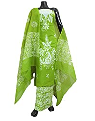 GiftPiper Cotton Batik Print Salwar Suit- Green