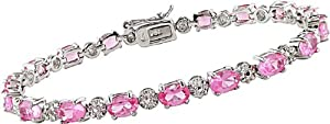 10 1/4 Carat Pink Sapphire and Diamond Bracelet in Sterling Silver, 7