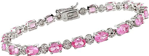 10 1/4 Carat Pink Sapphire and Diamond Bracelet in Sterling Silver, 7″