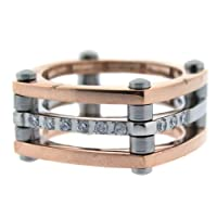 Stainless Steel Ring 316 Tri-Color Rose Gold Plated Polished CZ Diamond Square Band Size 6 by Bucasi