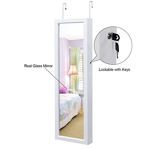 SONGMICS-Lockable-Jewelry-Cabinet-Wall-Door-Mounted-Jewelry-Armoire-Organizer-with-Mirror-LED-Light-White