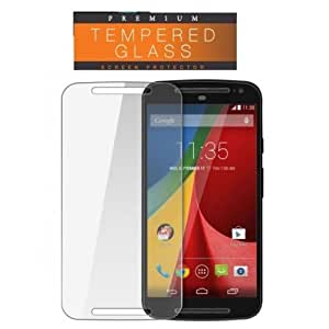 SNOOGG Pack of 8 Motorola Moto G (2nd gen) Full Body Tempered Glass Screen Protector [ Full Body Edge to Edge ] [ Anti Scratch ] [ 2.5D Round Edge] [HD View] – White