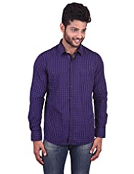 New Yorker Men's Blue And Black Casual Shirt