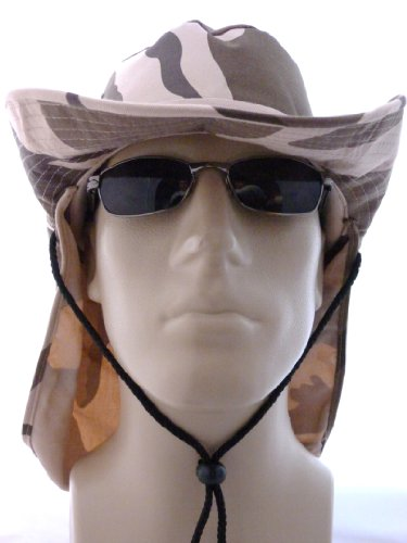 SAFARI Hat/Boonie Med-Large in Desert Camouflage with Neck Protection and Strap, Camo Fishing Hat with Rim Tan, Khaki, Beige, Brown, Light Color Outdoor Head, Face, Neck and Ear Protection from the Sun, Rimmed Hat