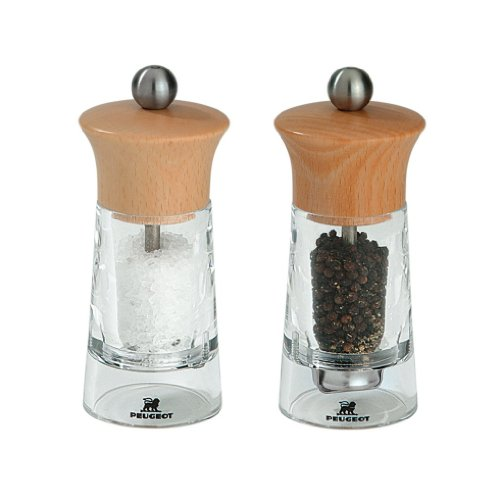 Peugeot Vendome Salt and Pepper Mill, Acrylic-Beech Wood Natural 14cm