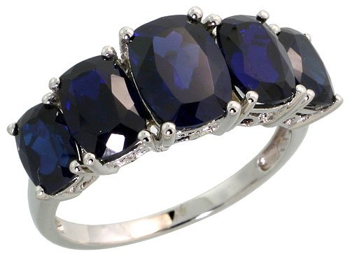 Revoni 9ct White Gold Ring, w/ 5.00 Carats September Birthstone Created Blue Sapphire Stones, 5/16 in. (8mm) wide
