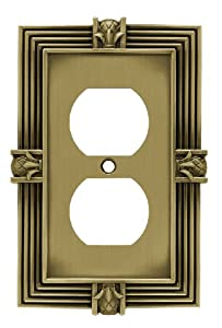 Brainerd 64472 Pineapple Single Duplex Wall Plate / Switch Plate / Cover, Tumbled Antique Brass