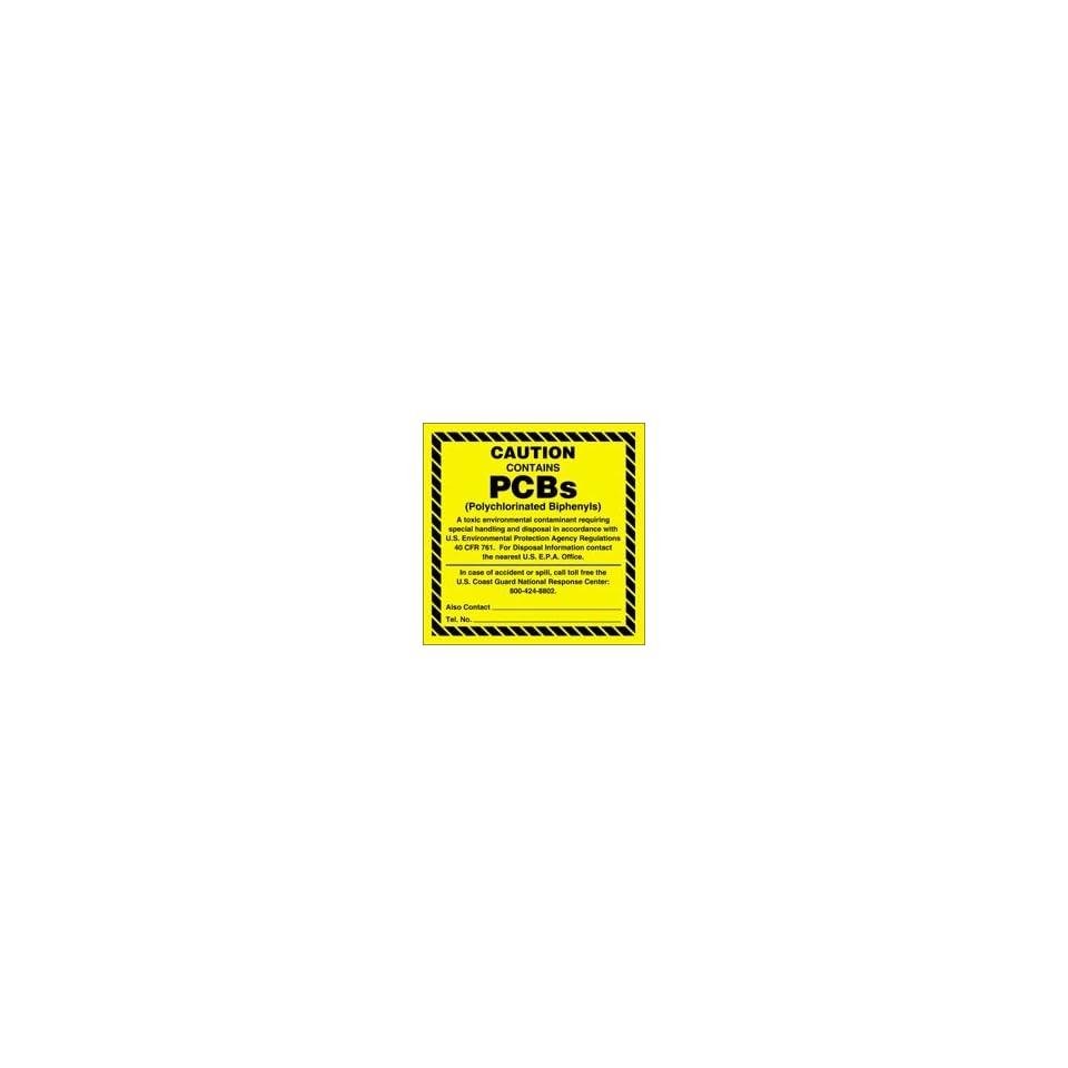 Hazardous Waste Adhesive Vinyl Labels CAUTION CONTAINS PCBs 6 x 6 (QTY/25)