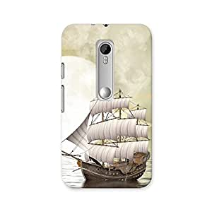 ArtzFolio Fantasy Landscape In The Ocean With Old Ship : Motorola Moto G Turbo Edition Matte Polycarbonate ORIGINAL BRANDED Mobile Cell Phone Protective BACK CASE COVER Protector : BEST DESIGNER Hard Shockproof Scratch-Proof Accessories