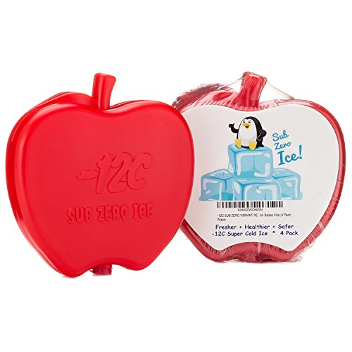 CUTE RED APPLE ICE PACK for Lunch Box, Bag, Cooler, Fun Shaped Cool Bright Leakproof Easy to Find Clean Store Handle for Healthier Fresher Safer Food Drinks Breast Milk Toddlers Kids (4 Pack) (Cool It Freezer Packs compare prices)