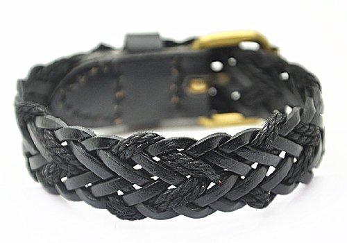 Jirong Punk Soft Black Leather Cuff Weave Bracelet Jewelry Bangle Unisex Bracelet Sl2241-1