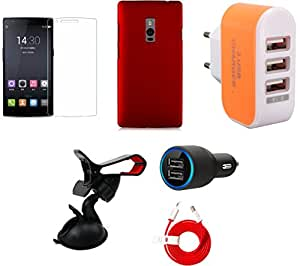 NIROSHA Tempered Glass Screen Guard Cover Car Charger Mobile Holder Combo for OnePlus 2