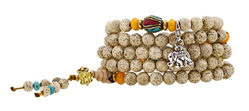 Handmade Elastic String Small 6mm Lotus Seed 108 Beads Wrap Bracelet with Charms (Elephant)