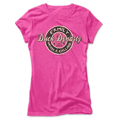 TeeShirtPalace Duck Dynasty Family With A Calling Ladies FittedT-Shirt Pink Large