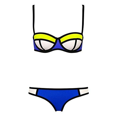 Pinkyee Damen Sexy Tauchanzug Neopren Nähte Farbe Badeanzug Bikini Set Bademode Gr. 40,  - Pattern Color-4