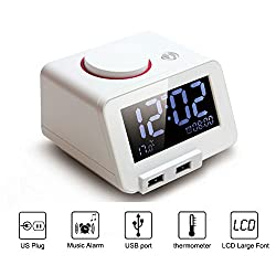 Multi-function Alarm Clock, with Charging Port, Thermometer - Homtime? C1 [Color White]