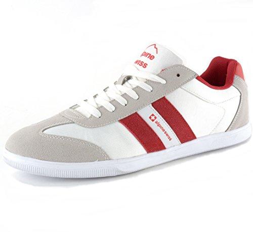 Alpine Swiss Haris Mens Suede Trim Retro Striped Athletic Sneakers White 12 M US Alpine Stripe