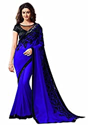 Women's Exclusive Blue Embroidery Work Georgette Sari with Blouse