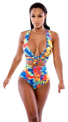 Sexy Donne Multicolore A Vita Alta Bikini Set costumi da bagno reggiseno lingerie Set Abbigliamento Pole Dancer misura 8, 10e 12