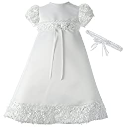 Lauren Madison Baby-Girls Newborn Satin Dress Gown Outfit, White, 9-12 Months