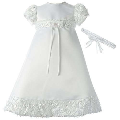 Lauren Madison Baby-Girls Newborn Satin Dress Gown Outfit, White, 0-3 Months