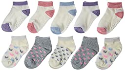 Joe Fresh Toddler Girl Butterflies, Heel/Toe Accents Low Cut 10-Pack, 1-3