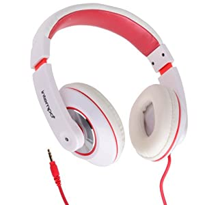 Intempo Over-Ear Headphones in White & Red