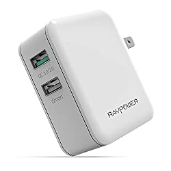 Quick Charge 3.0 RAVPower Turbo+ 30W Dual-Port USB Quick Charger with Foldable Pin for Galaxy S6 Edge, HTC One A9, Note 5, Nexus 6 and more (White)