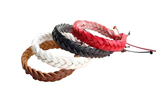 / Simple lace-up leather bracelet with matching mens Womens unisex pair casual ethnic Asian taste luxurious knitting [G-premium] please (white)