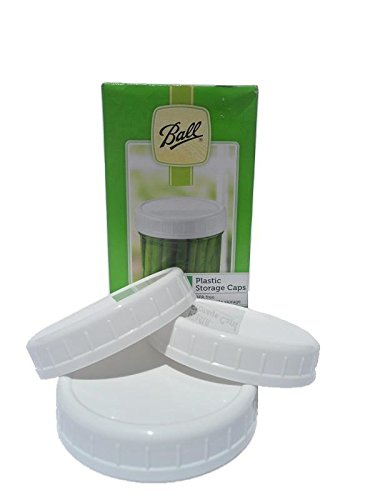 Ball Mason Jar Plastic Storage Reusable Caps for Regular Mouth Canning/Mason Jars, 24 (twenty-four) caps. (Mason Jar Plastic Ring compare prices)