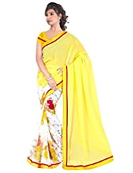 Dancing Girl Yellow Georgette Printed Party Wear Saree With Blouse