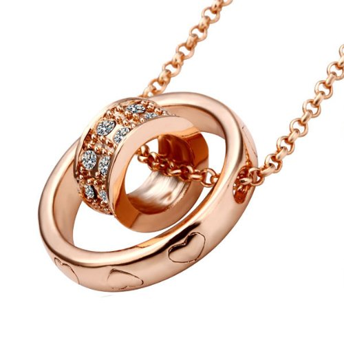 Lekani Rose Gold Color Dual Ring Rhinestone Crystal