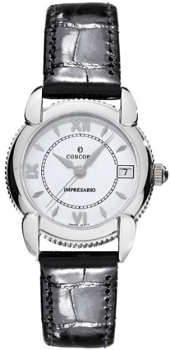 Concord Impresario Stainless Steel Womens Strap Watch Calendar White Dial 0309168