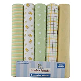 Luvable Friends 5-Pack Receiving Blankets