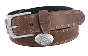 NCAA Virginia Cavaliers Light Crazy Horse Leather Concho Belt by ZEP-PRO