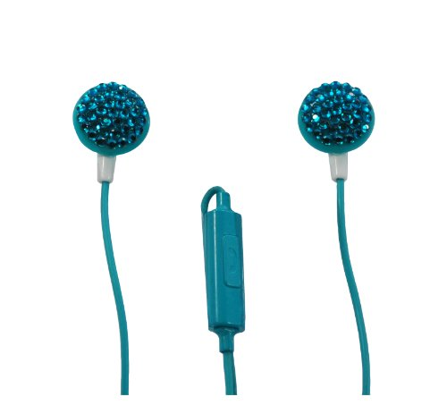 Ivibe Iv-Cir-Tel Circles Noise Isolation In-Ear Stereo Earphones With Built-In Microphone And On/Off Switch For Mp3 Players, Ipods And Iphones, Teal