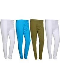 IndiWeaves Women Cotton Legging Comfortable Stylish Churidar Full Length Women Leggings-Sky Blue-Pack Of 4