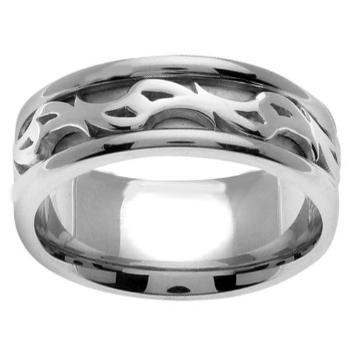 Double Spiral Celtic Men's 8 Mm 14K White Gold Comfort Fit Wedding Band