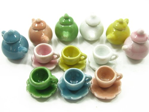 6/18 Coffee Tea Cup Saucer Pot Set Doll House Miniature Ceramic Kitchen Supply Deco #S - 2337