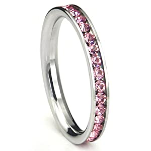 316L Stainless Steel Pink Cubic Zirconia CZ Eternity Wedding 3MM Band Ring Sz 8