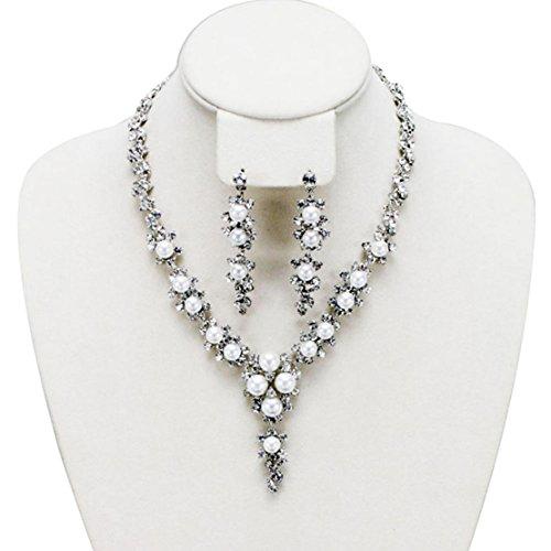 Floral Vine con strass e perle, motivo: Evening-Set di collana e orecchini in argento