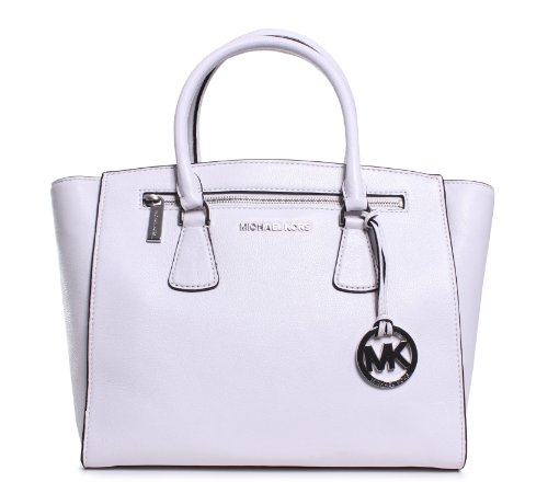 Michael Kors Sophie Medium Satchel Optic White Leather Shoulder Handbag