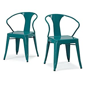 ModHaus Set of 4 Turquoise Metal Chairs in Glossy Powder Coated Finish
