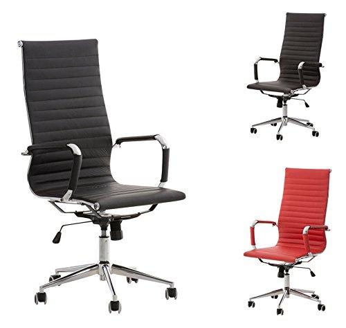 CLP comoda poltrona da ufficio ROMAN con rivestimento in pregiata vera pelle in 4 colori a scelta, altezza della seduta 47 - 57 cm nero