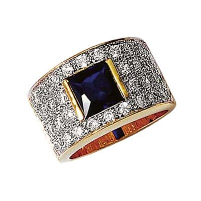 Ladies 18K Gold Plated Blue & Clear Cubic Zirconia Pave Luxury Cluster Band Ring