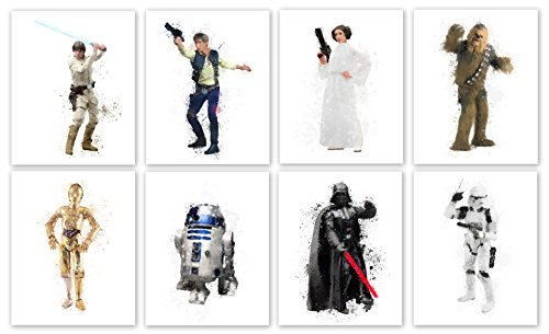 "Star Wars Collector Prints - Set of Eight Photos (8"" x10"") Unframed - Luke Skywalker, Han Solo, Princess Leia, Chewbacca, C-3PO, R2-D2, Darth Vader and Stormtrooper"