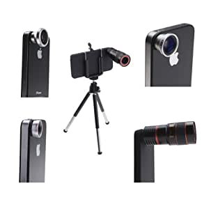 AGPtek® 4 in 1 Camera Lens Kit for Apple iPhone 4 (8X Black Telephoto Lens, Fish Eye Lens, Wide Angle + Micro Lens) Plus Tripod and Hard Case