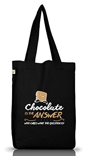 Shirtstreet24, Chocolate Is The Answer, Jutebeutel Stoff Tasche Earth Positive (ONE SIZE),...