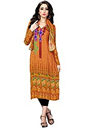 Justkartit Women's (& Girls) Yellow colour Floral Design Casual Wear Kurti / Pakistani Style Kurti / Simple Kurti With Scarf Piece (Kurti's 2016)