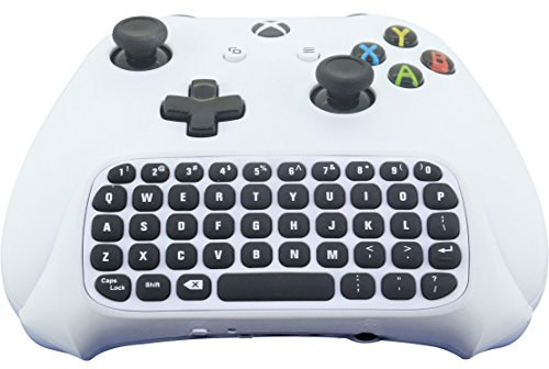 Exclusive White Color 2.4G Mini Wireless Chatpad Message Game Controller Keyboard Keypad with Improved Wireless Range and Audio passthrough for Microsoft Xbox One Controller